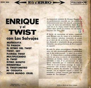 """Contraportada del LP de """"Enrique y el Twist"""" con Los Salvajes"""