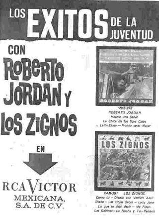 Publicidad Roberto Jordán y Los Zignos