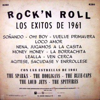 Contraportada del LP Rock'n'Roll Los éxitos de 1961