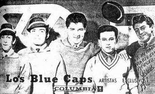 "Los Blue Caps postal ""Columbia"" con autógrafo"